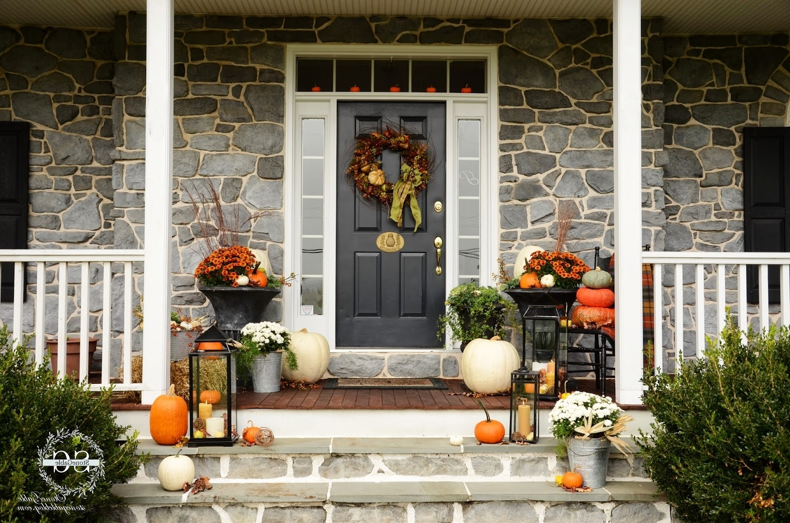 Outdoor Lanterns For Front Porch Throughout Widely Used Fall On The Front Porch – Stonegable (Gallery 10 of 20)