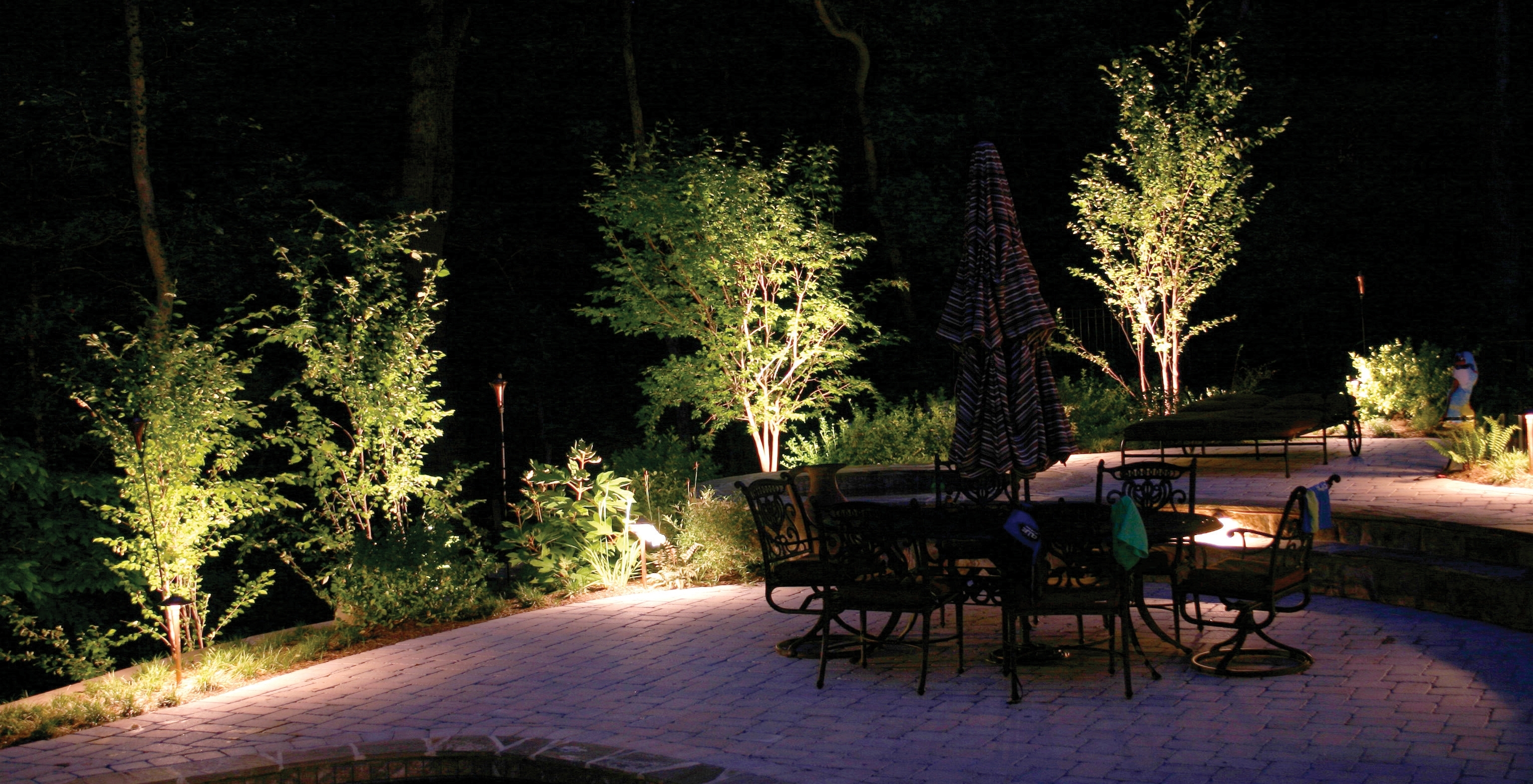 Outdoor Lanterns For Trees Within 2018 Charlotte Trees Light At Night With Outdoor Lighting – Home Lighting (View 12 of 20)