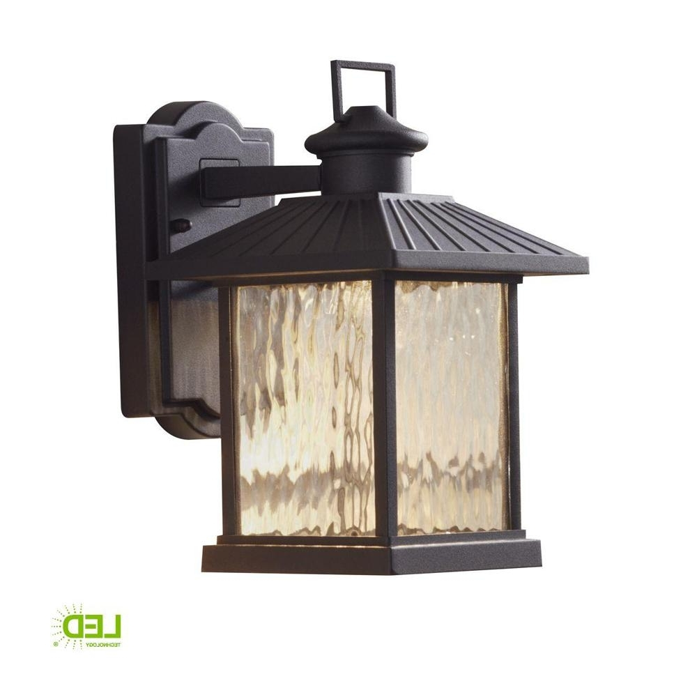 Outdoor Lanterns Intended For Most Up To Date Hampton Bay Lumsden 7 In. Black Outdoor Integrated Led Wall Mount (Gallery 18 of 20)