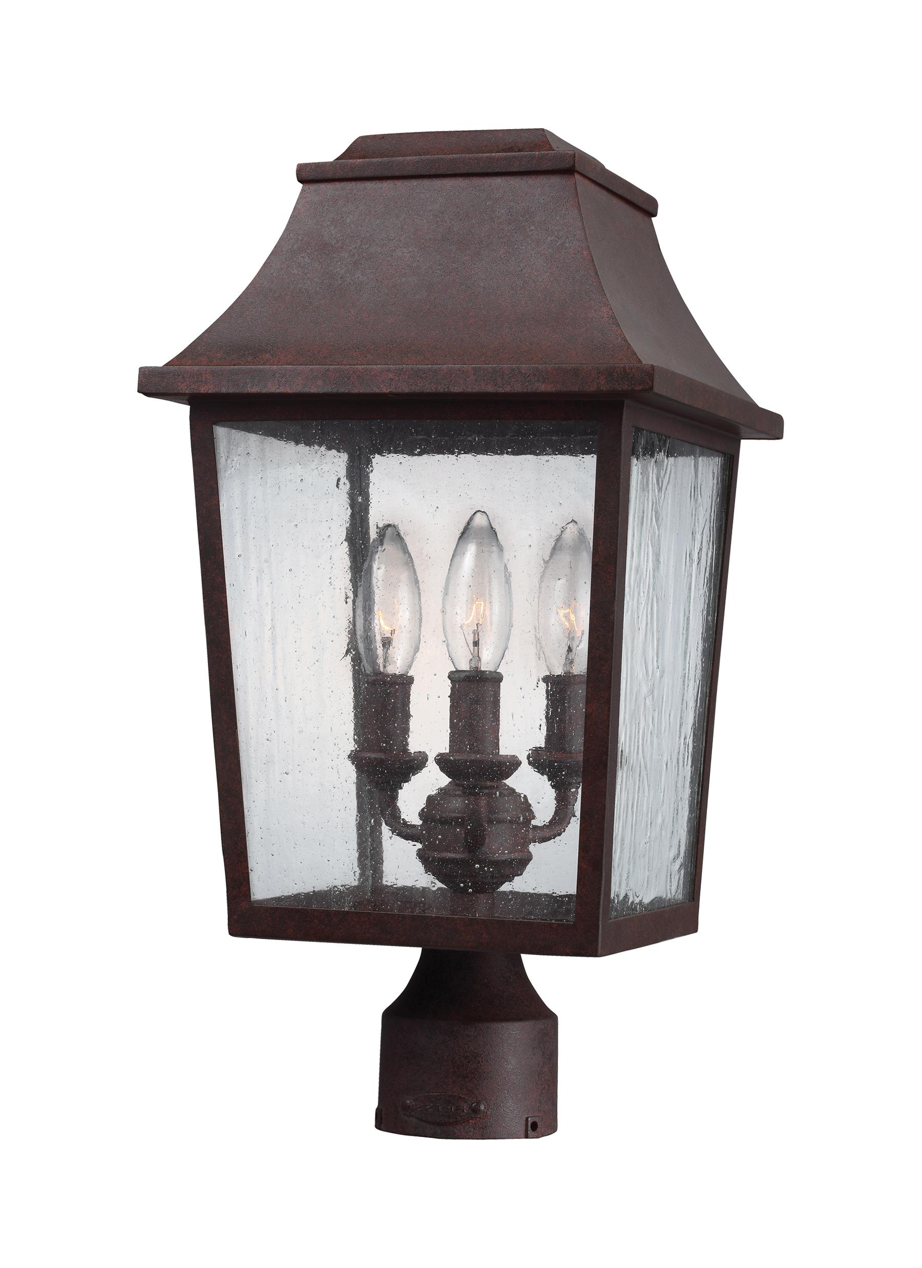 Outdoor Lanterns On Post Throughout Preferred Ol11909Pcr,3 – Light Outdoor Post Lantern,patina Copper (Gallery 3 of 20)