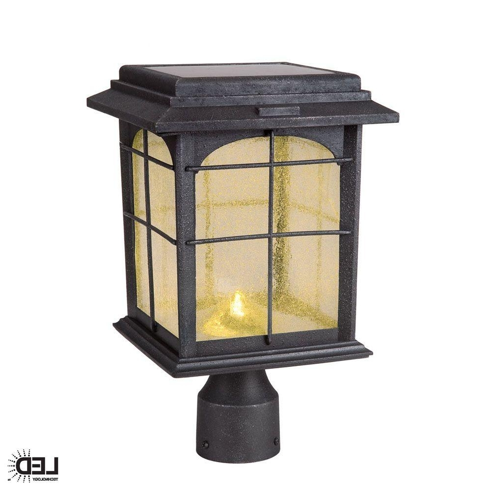 Outdoor Lanterns On Post Throughout Recent Hampton Bay Solar Outdoor Hand Painted Sanded Iron Post Lantern With (View 6 of 20)