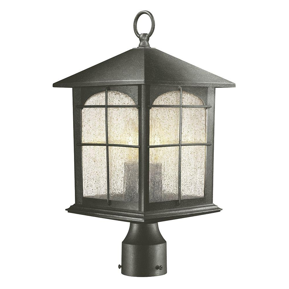 Outdoor Lanterns On Post With Regard To Most Popular Home Decorators Collection Brimfield 3 Light Outdoor Aged Iron Post (View 15 of 20)