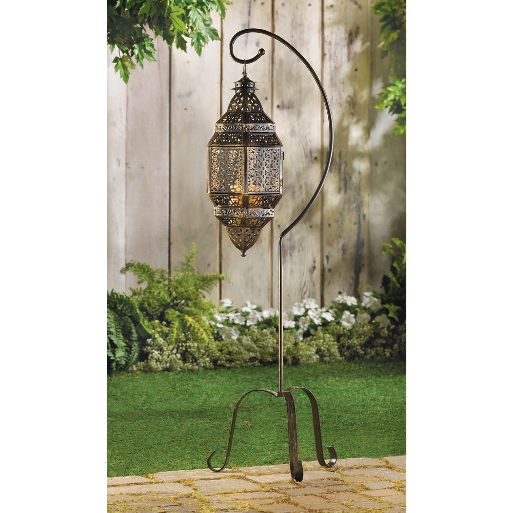 Outdoor Lanterns On Stands Throughout Favorite Tall Iron Moroccan Standing Metal Candle Lantern Stand, Best Decor (Gallery 3 of 20)