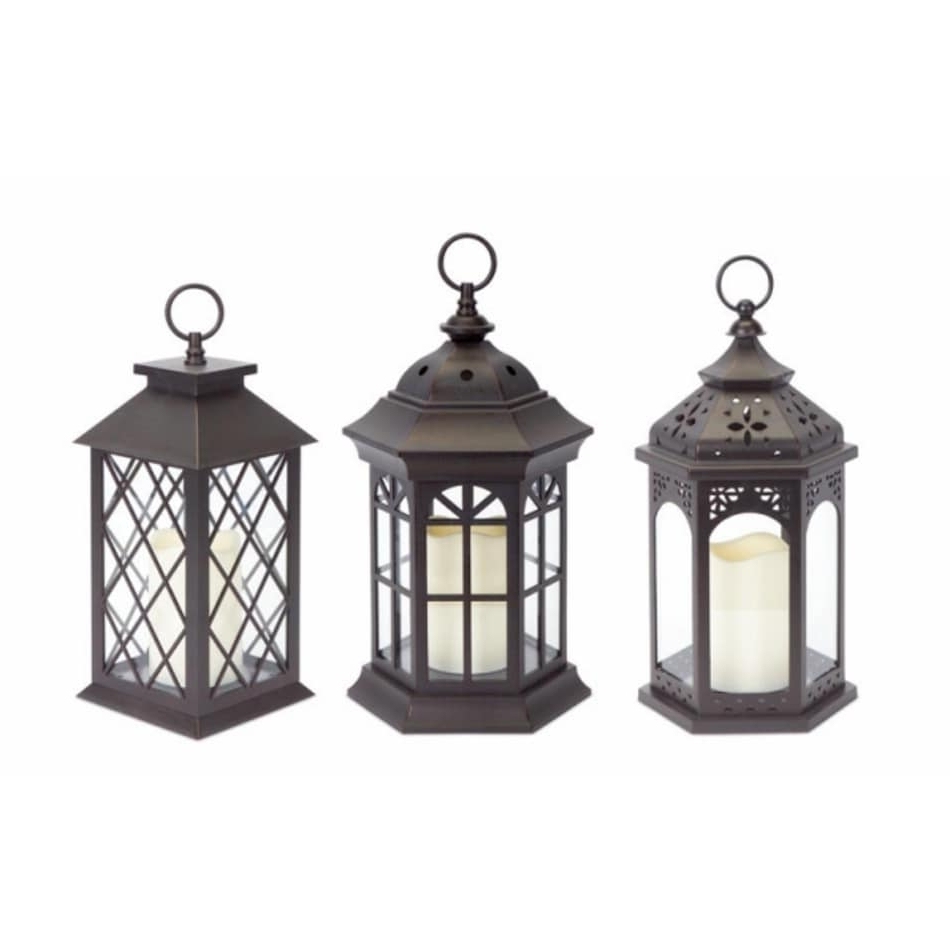 Outdoor Lanterns With Battery Candles For Most Popular Shop Pack Of 3 Dark Brown Battery Operated Outdoor Led Candle (Gallery 10 of 20)
