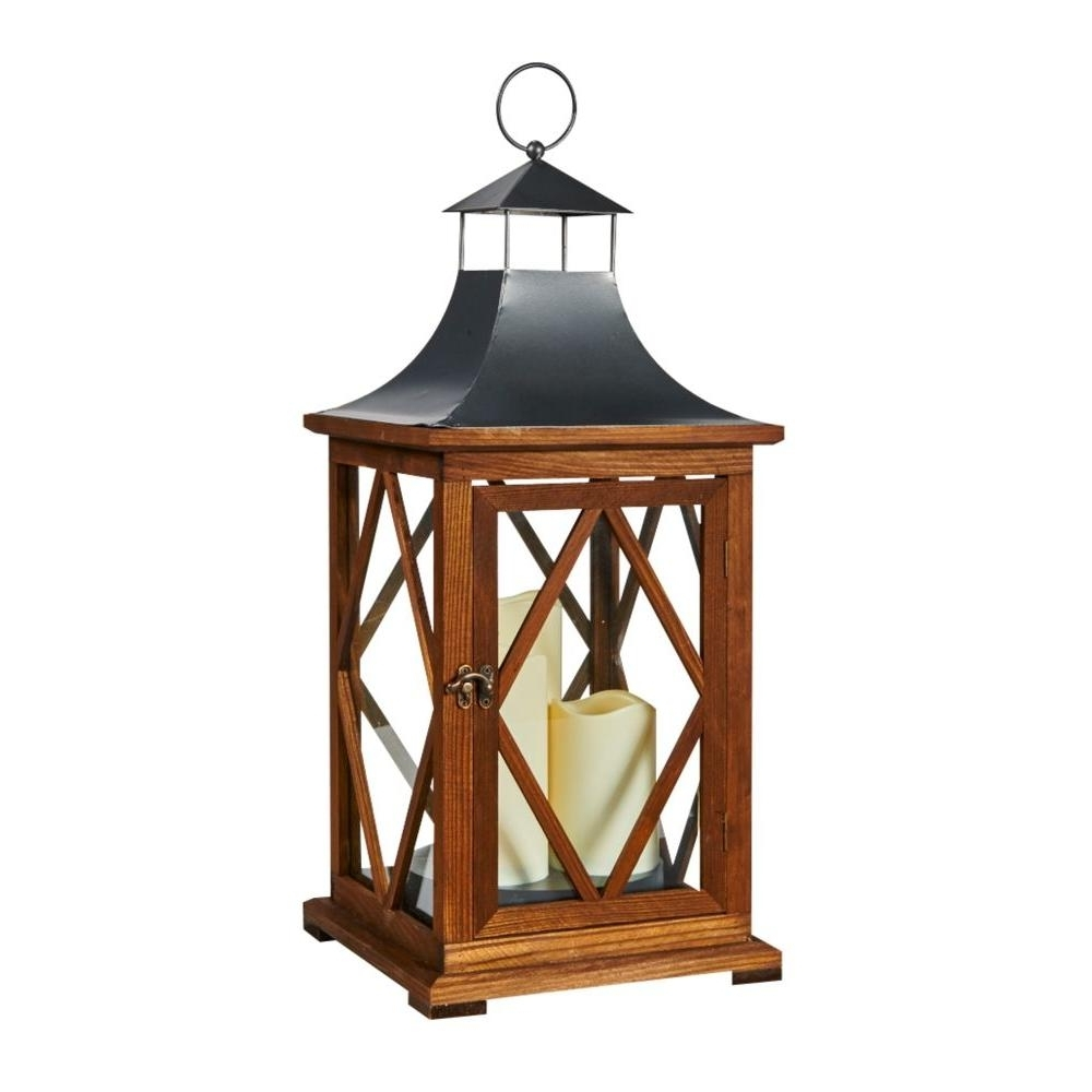 Outdoor Lanterns With Battery Candles With Regard To Most Popular Smart Solar Portland 22 In. Triple Led Candle Wooden Lantern 80077 (Gallery 4 of 20)