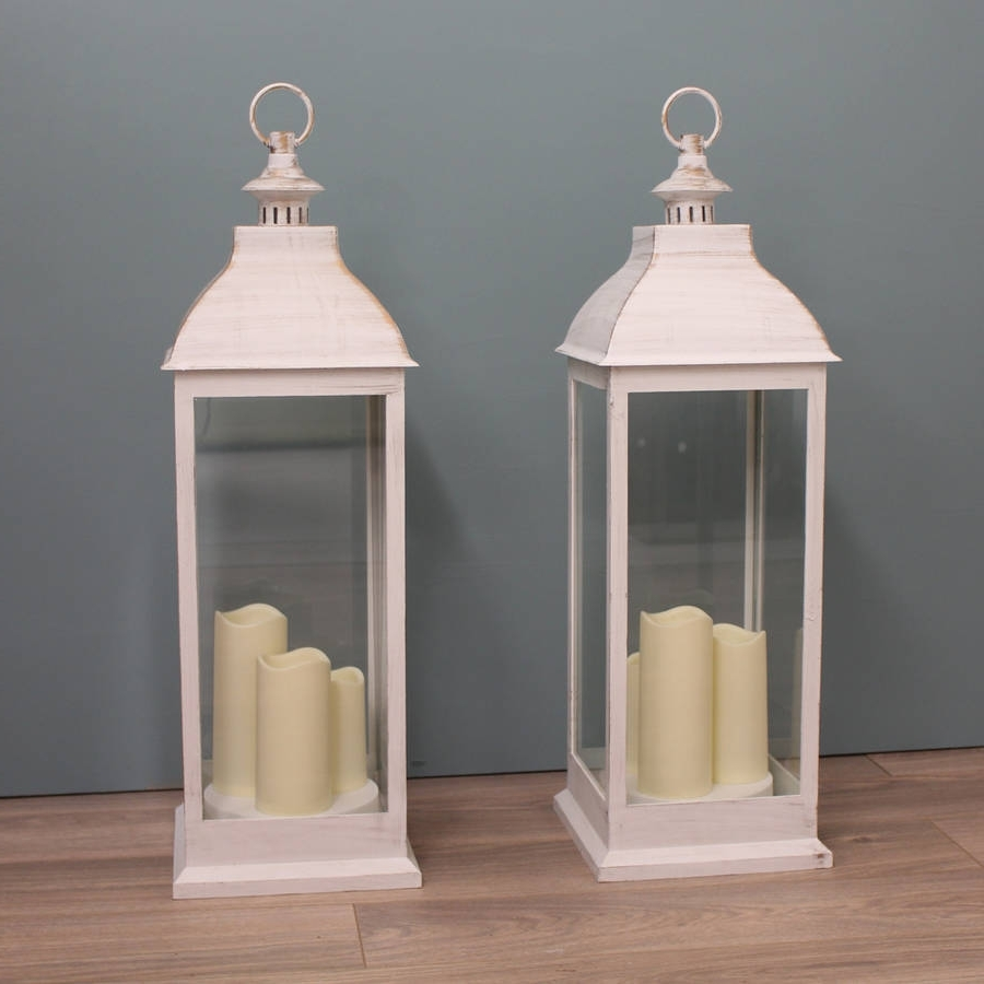 Outdoor Lanterns With Candles Pertaining To Well Liked Two Firenze Battery Operated Candle Lanterns In Creamgarden (View 9 of 20)