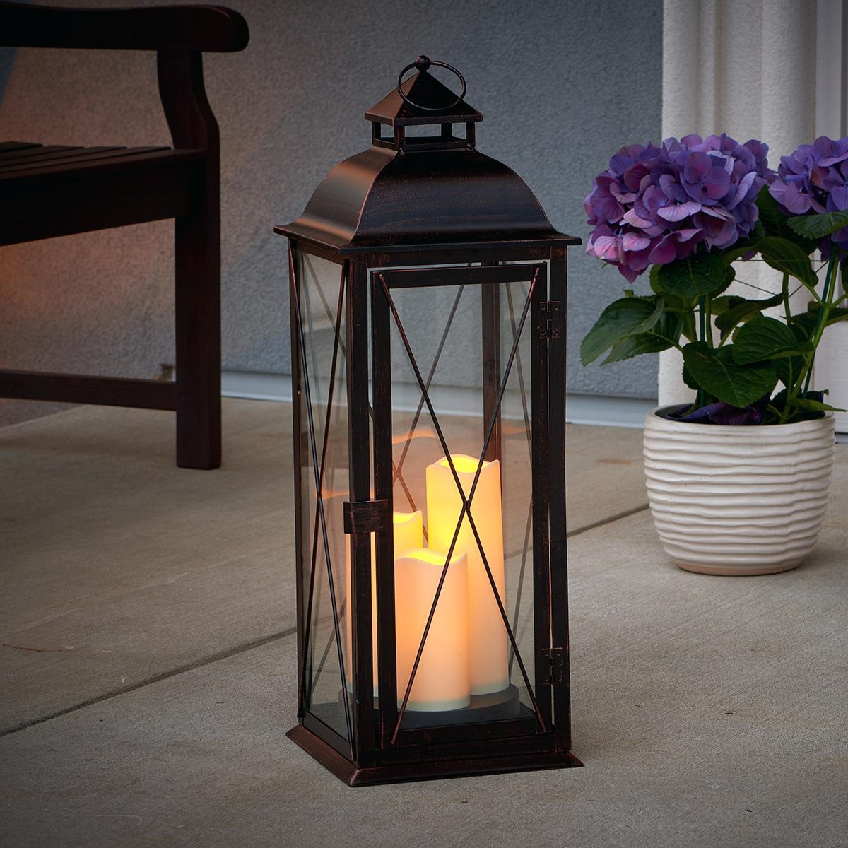 Outdoor Lanterns With Flameless Candles Pertaining To Most Recently Released Candles ~ Flameless Candle Lanterns Lantern For Block Black Indoor (View 12 of 20)