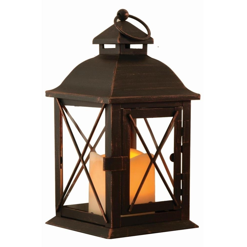 Outdoor Lanterns With Flameless Candles Regarding Most Recent Smart Design Aversa 10 In. Antique Brown Led Lantern With Timer (Gallery 3 of 20)