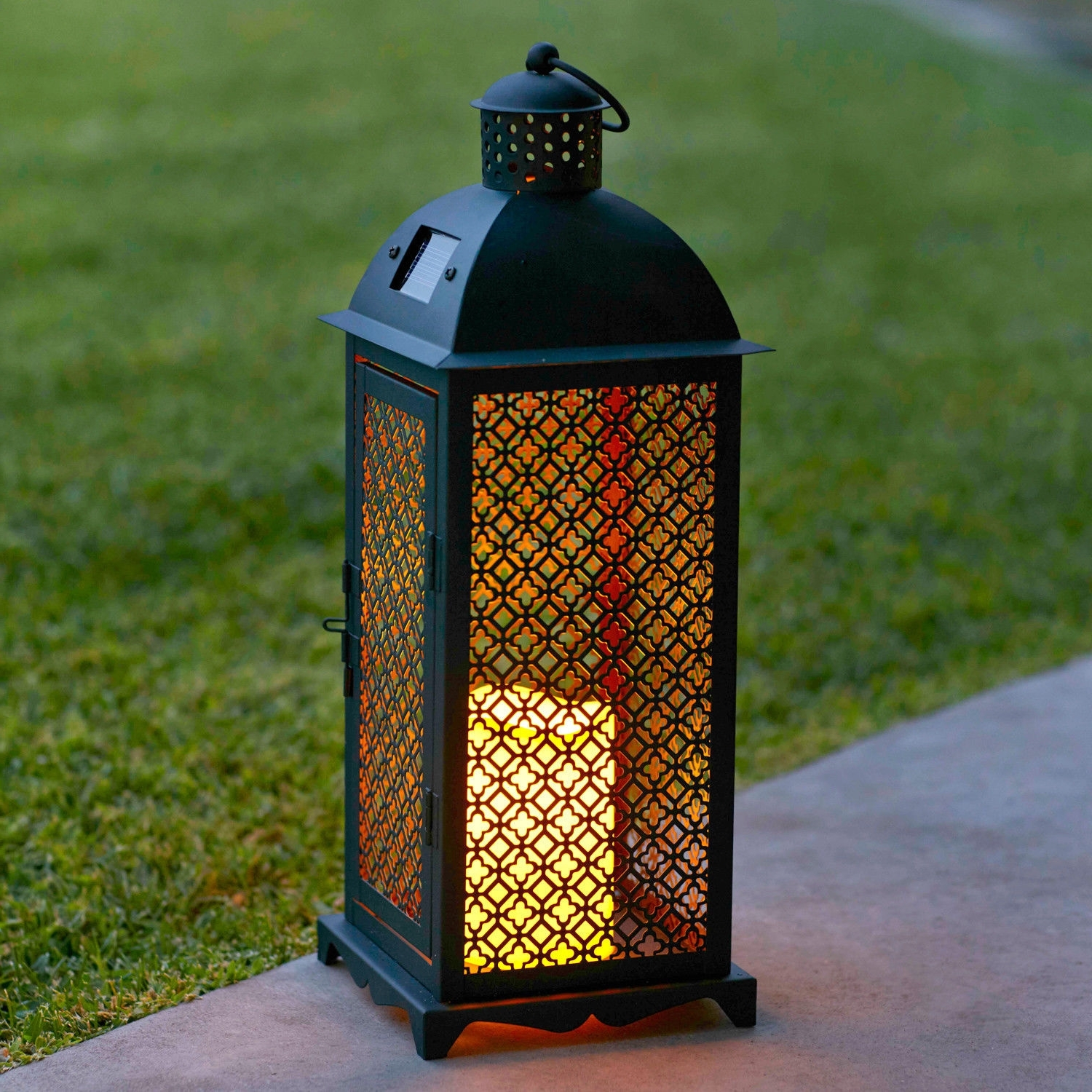 Outdoor Lanterns With Flameless Candles Regarding Well Known Moroccan Solar Powered Led Garden Outdoor Flameless Candle Lantern (View 14 of 20)