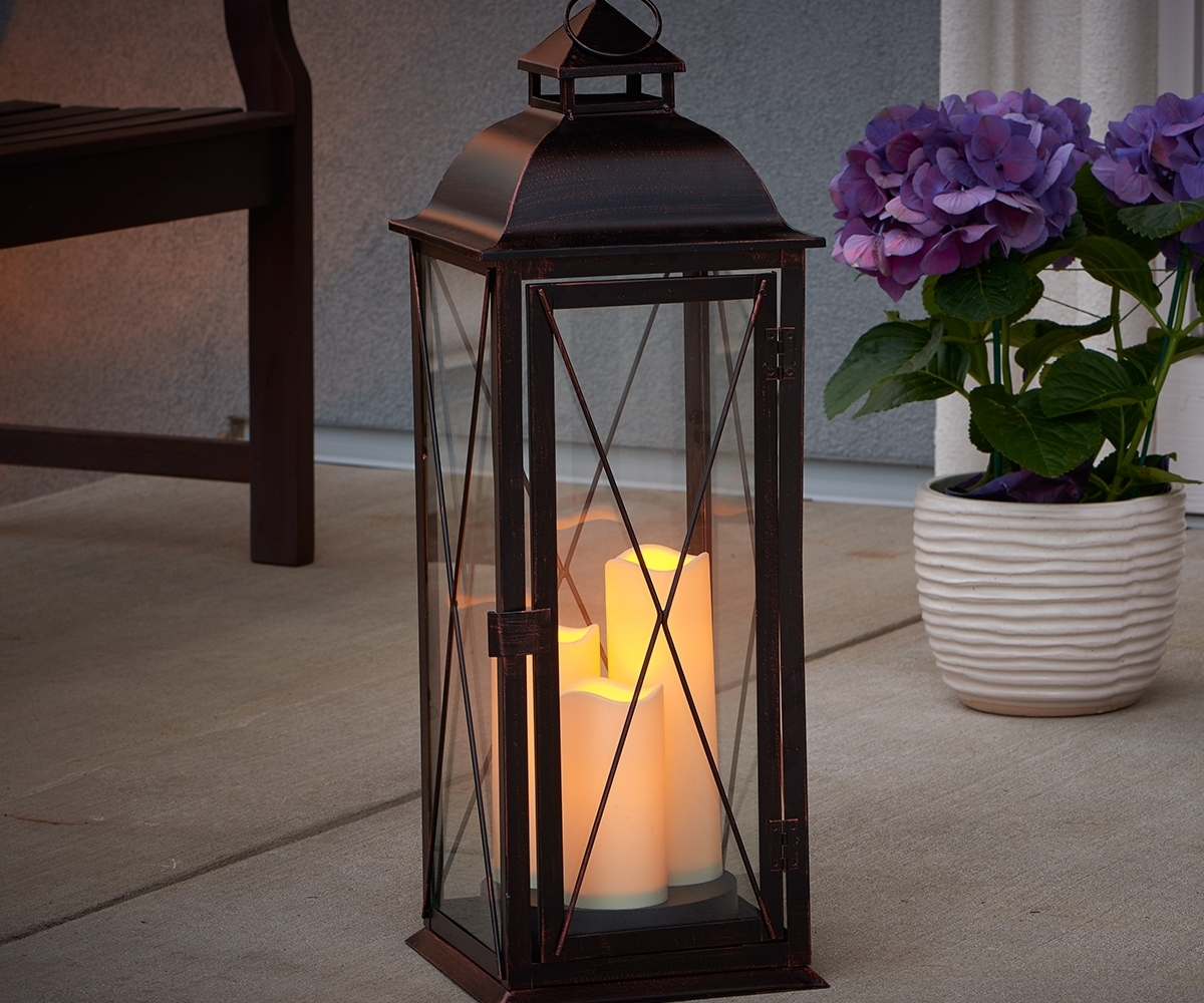 Outdoor Lanterns With Led Candles Regarding Most Recent Dainty Patio For Greenpillow Large Lighting Outdoor Lantern Also (View 11 of 20)