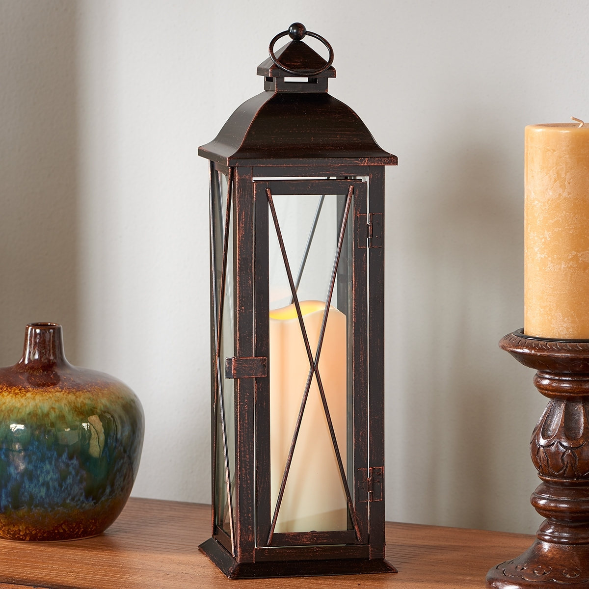 """Outdoor Lanterns With Led Candles Throughout Newest Siena 16"""" Led Candle Lantern – Antique Bronze – Walmart (View 16 of 20)"""