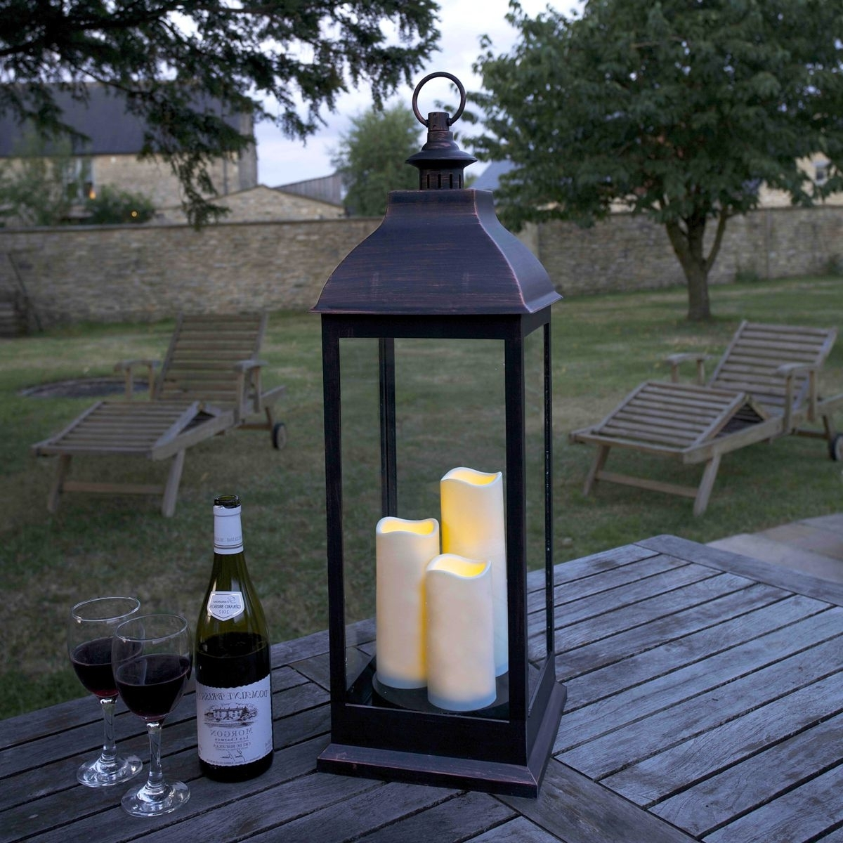 Outdoor Lanterns With Led Candles Within 2019 Giant Copper Look Led Lantern (View 4 of 20)