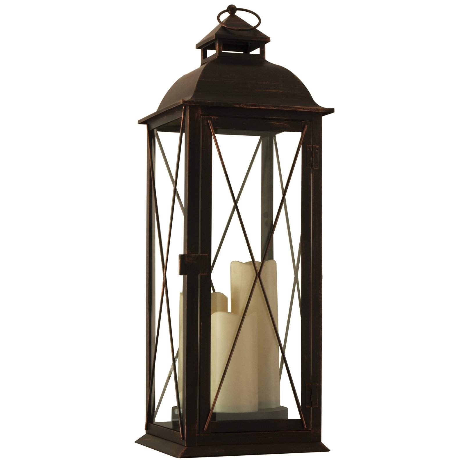 Outdoor Lanterns With Led Candles Within Well Liked Smart Design Salerno Triple Candle Led Lantern W/ On Off Timer (View 17 of 20)
