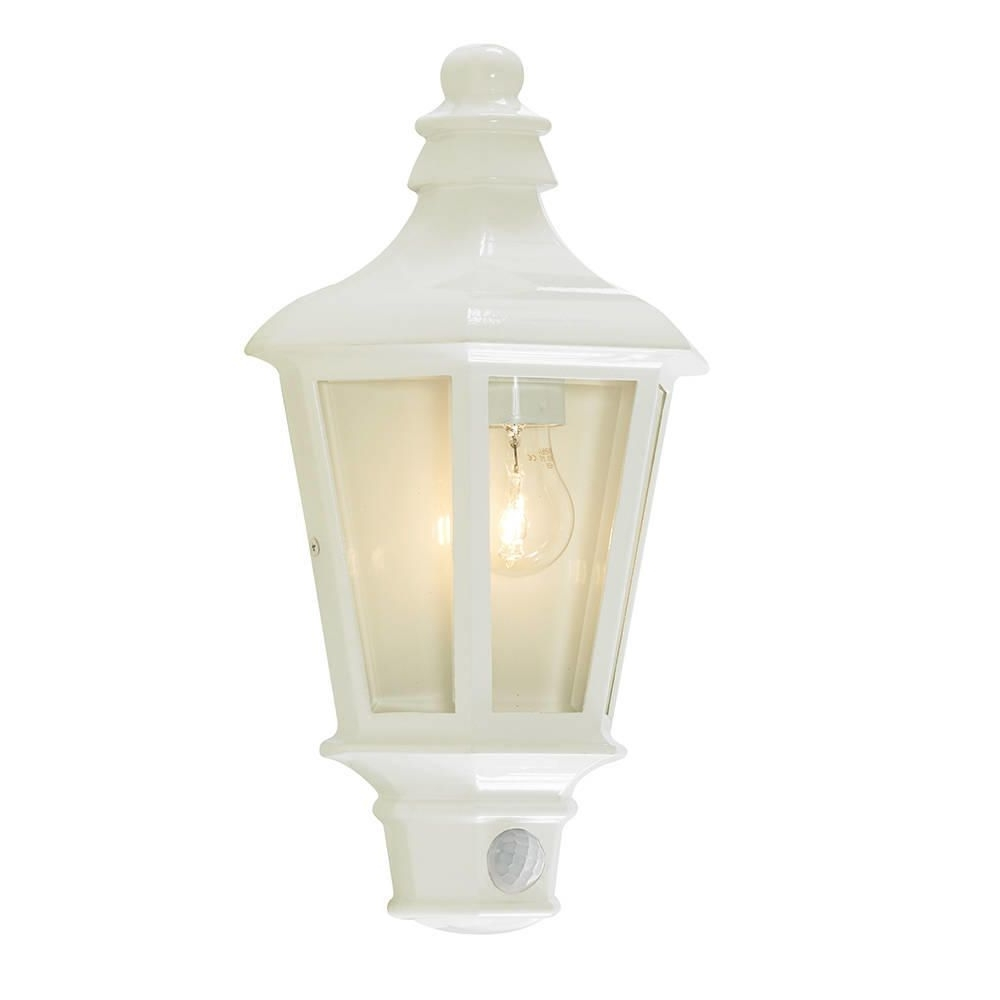 Outdoor Lanterns With Pir With Well Liked Perry Outdoor Pir Half Lantern – White From Litecraft (Gallery 20 of 20)