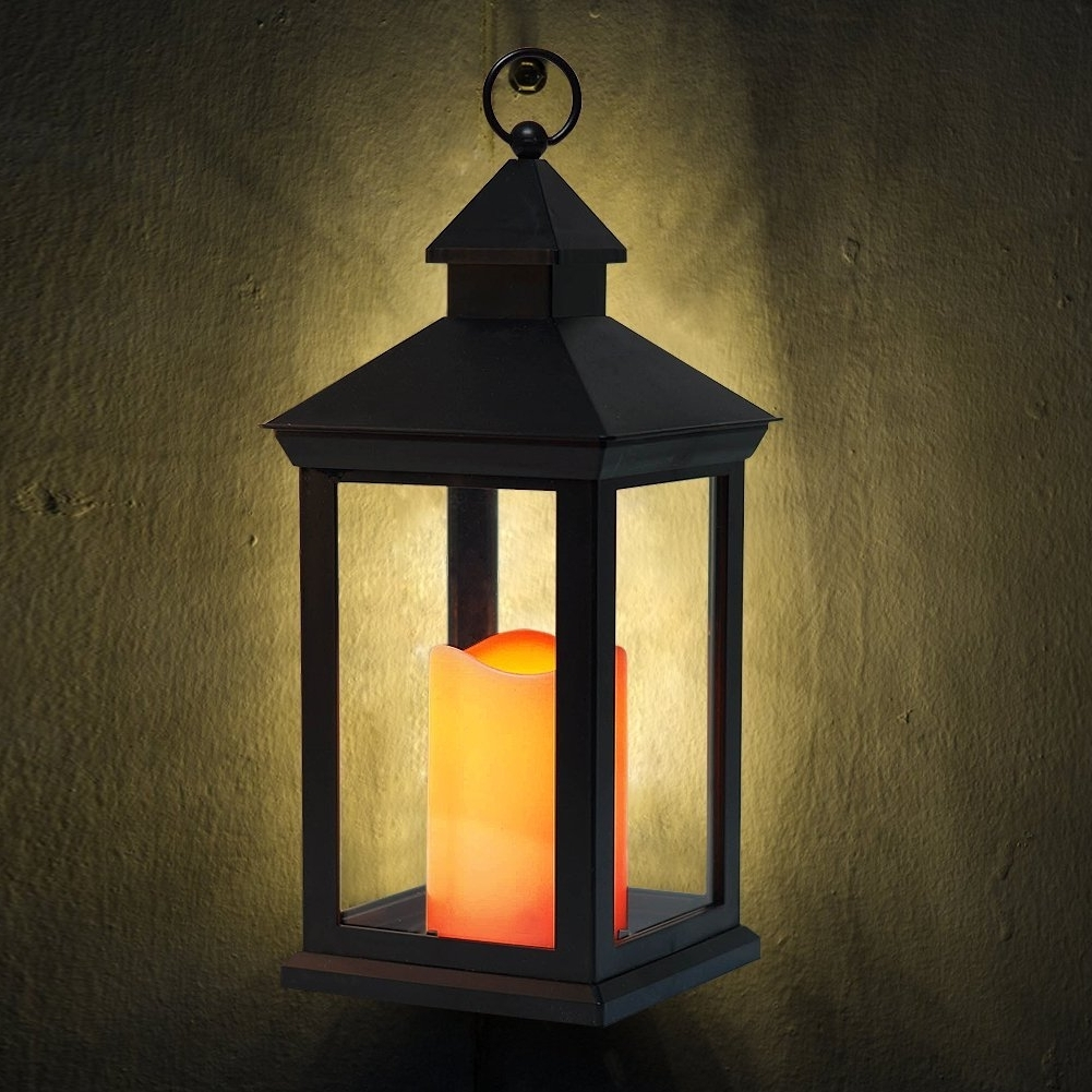 "Outdoor Lanterns With Timers In Famous Bright Zeal 14"" Tall Vintage Decorative Lantern With Led Flickering (View 20 of 20)"