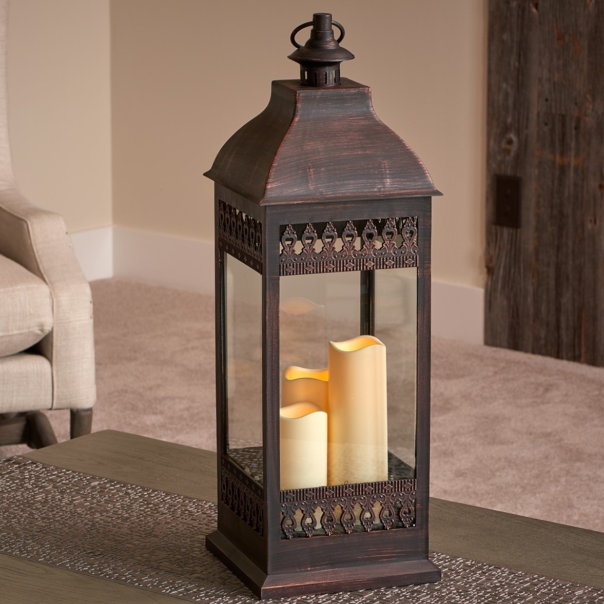 "Outdoor Lanterns With Timers Throughout Favorite San Nicola 28"" Triple Led Candle – Antique Bronze – Walmart (View 19 of 20)"