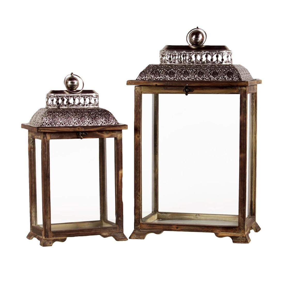 Outdoor Lanterns Within Favorite Set Of Wooden Outdoor Lanterns – Patio Furniture Co (View 17 of 20)