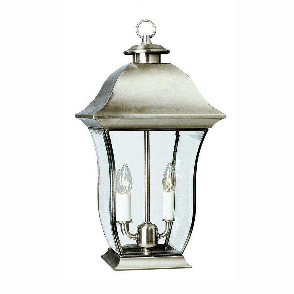 Outdoor Lanterns Without Glass With Latest Bel Air Lighting Wall Flower 2 Light Outdoor Brushed Nickel Post (View 8 of 20)