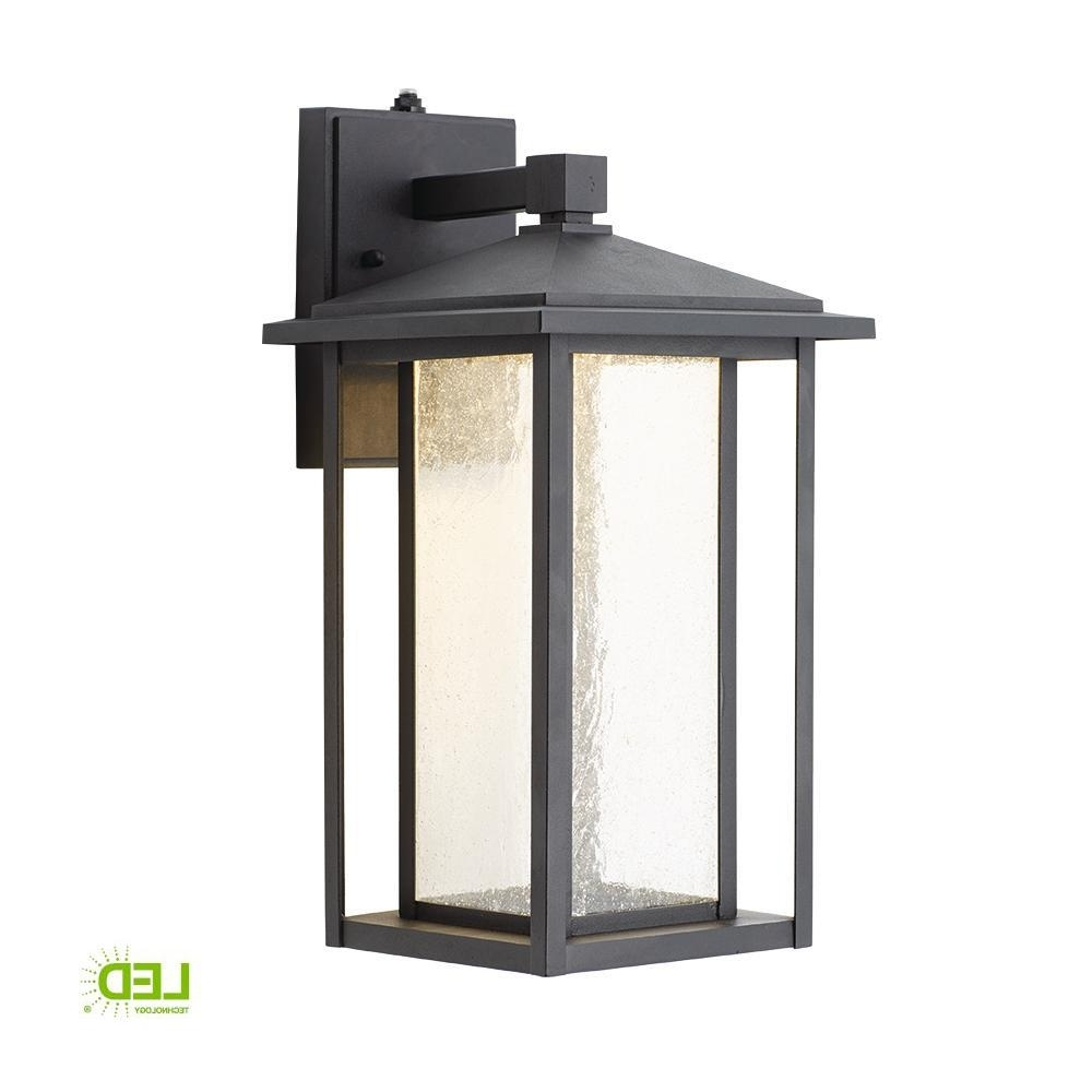 Outdoor Lanterns Without Glass Within Current Home Decorators Collection Black Medium Outdoor Seeded Glass Dusk To (View 11 of 20)