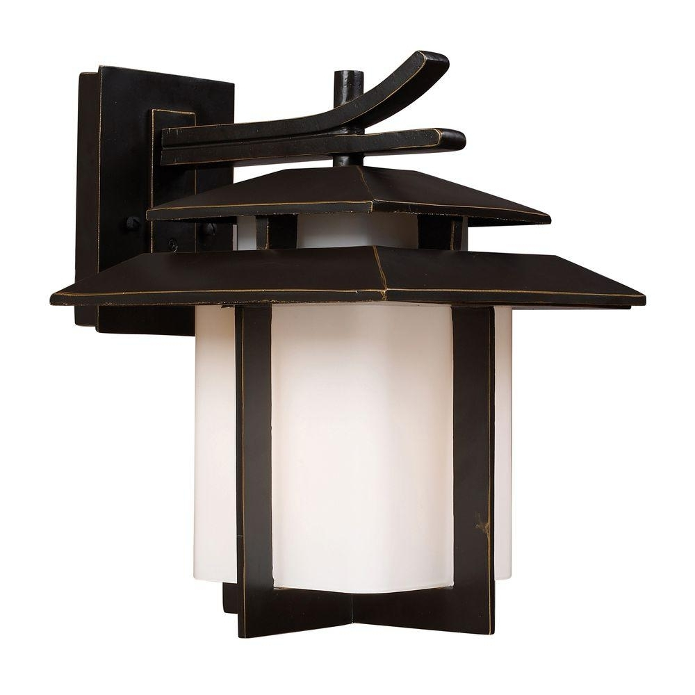 Outdoor Lighting Japanese Lanterns Throughout Favorite Titan Lighting Kanso Outdoor Hazelnut Bronze Wall Sconce Tn (View 3 of 20)