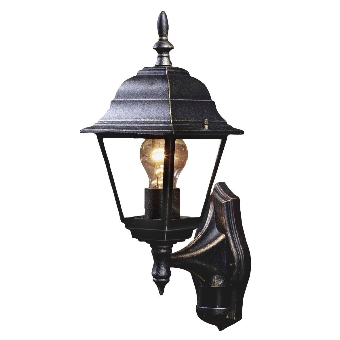 Outdoor Mains Lanterns In Newest B&q Polperro Antique Effect Black 60W Mains Powered External Pir (Gallery 7 of 20)