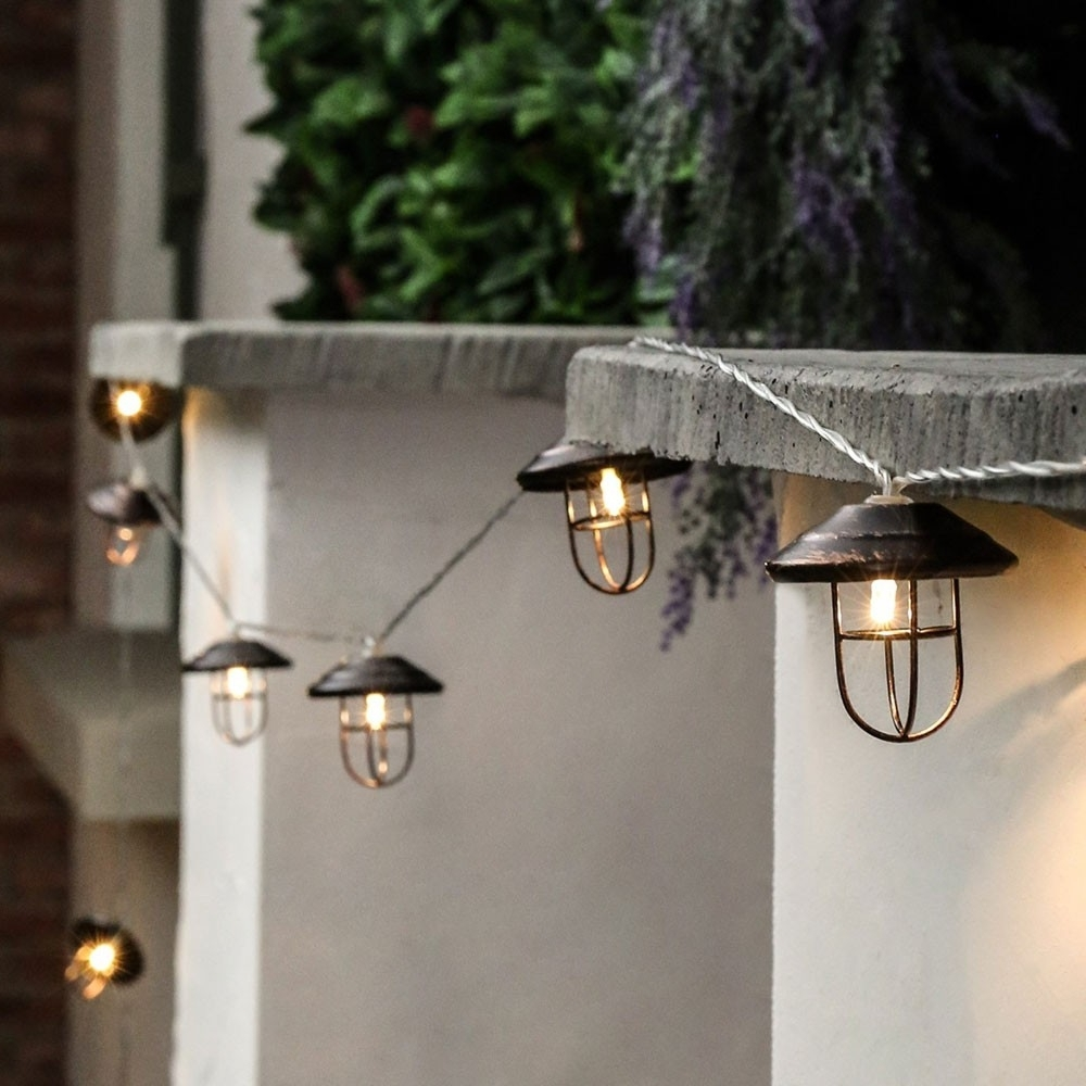 Outdoor Metal Battery Lantern Lights, 10 Warm White Led's With Regard To Most Current Outdoor Vintage Lanterns (View 13 of 20)