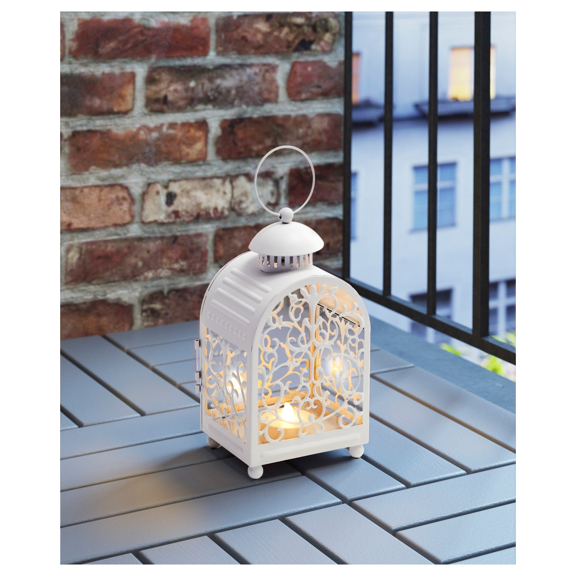 Outdoor Metal Lanterns For Candles Regarding 2018 Gottgöra Lantern For Candle In Metal Cup In/outdoor White 26 Cm – Ikea (Gallery 14 of 20)