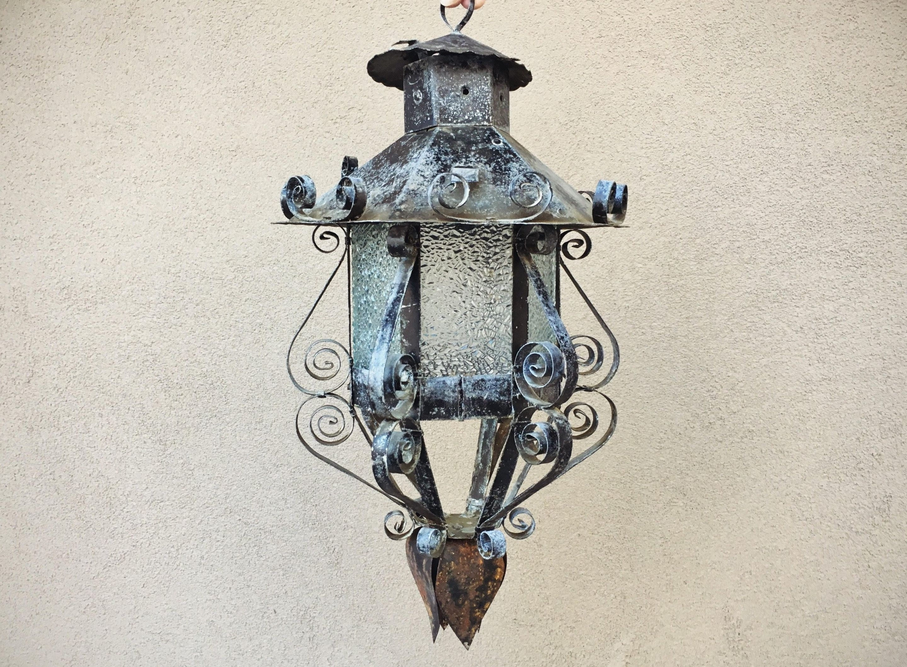 Outdoor Mexican Lanterns Throughout 2018 Mexican Patio Decor Metal Glass Hanging Lantern, Spanish Revival (Gallery 11 of 20)