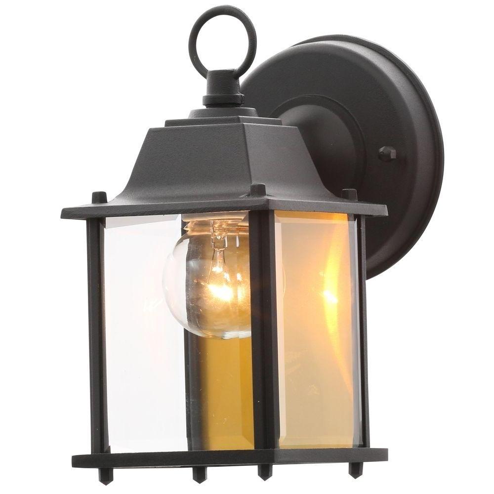 Outdoor Mounted Lanterns Within Popular Hampton Bay 1 Light Black Outdoor Wall Lantern Bpm1691 Blk – The (View 17 of 20)