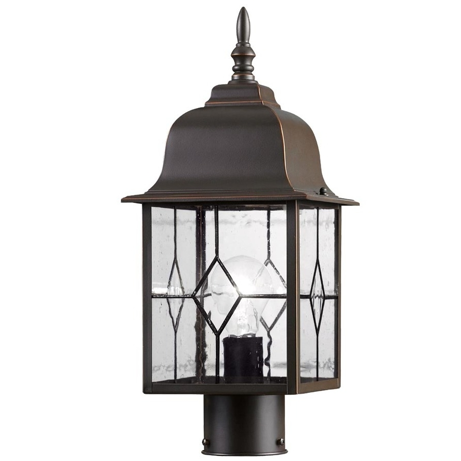 Outdoor Oil Lanterns For Patio In Widely Used Shop Portfolio Litshire 17 In H Oil Rubbed Bronze Post Light At (Gallery 13 of 20)