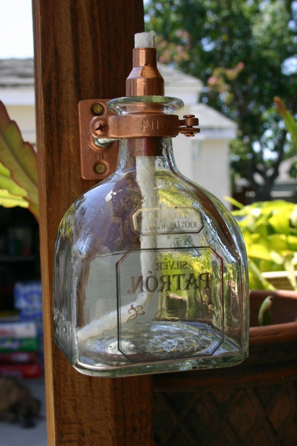 Outdoor Oil Lanterns For Patio Regarding Most Recent 2 Patron Tequila Tiki Torch / Oil Lamps Including Bottle & Hardware (View 9 of 20)