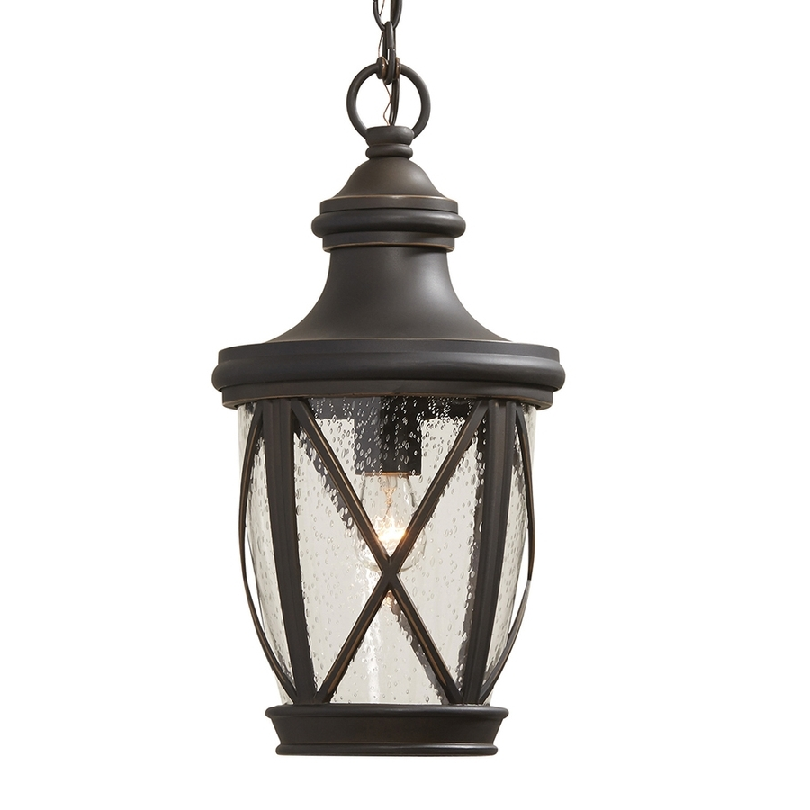 Outdoor Pendant Lanterns Regarding Widely Used Shop Allen + Roth Castine Rubbed Bronze Vintage Seeded Glass (View 13 of 20)