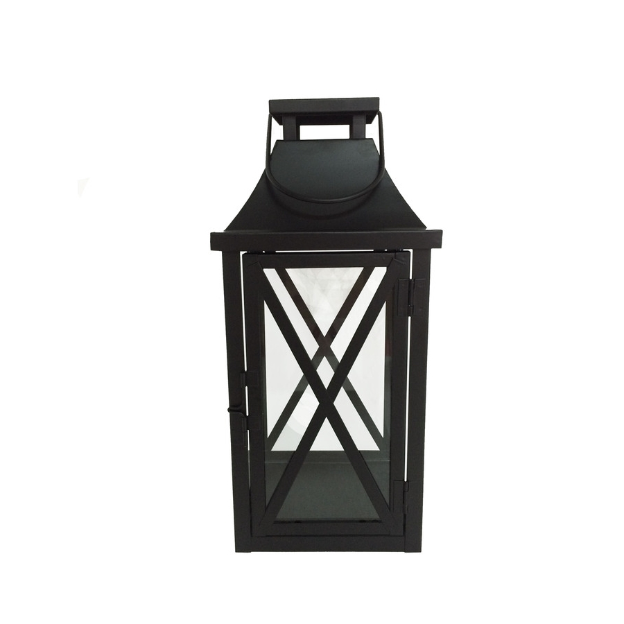 Outdoor Pillar Lanterns Inside Newest Shop Garden Treasures 5.5 In X 12 In Black Metal Pillar Candle (Gallery 10 of 20)