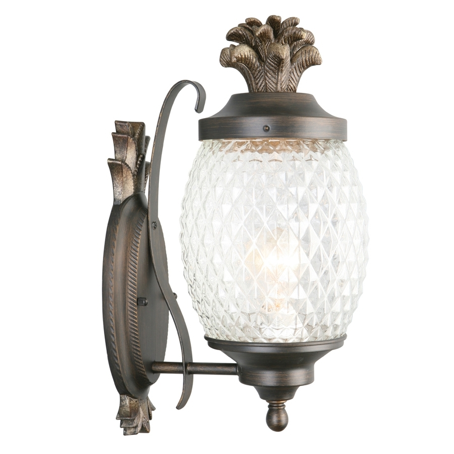Outdoor Pineapple Lanterns In Famous Shop Portfolio 15.25 In H Brushed Bronze Outdoor Wall Light At Lowes (Gallery 11 of 20)