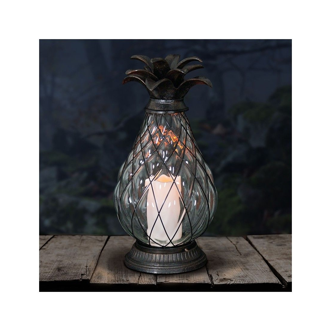 "Outdoor Pineapple Lanterns With Regard To Recent 17"" Bronze Pineapple Lantern With Led Candle – Dimensions: 8"" X 8"" X (View 12 of 20)"
