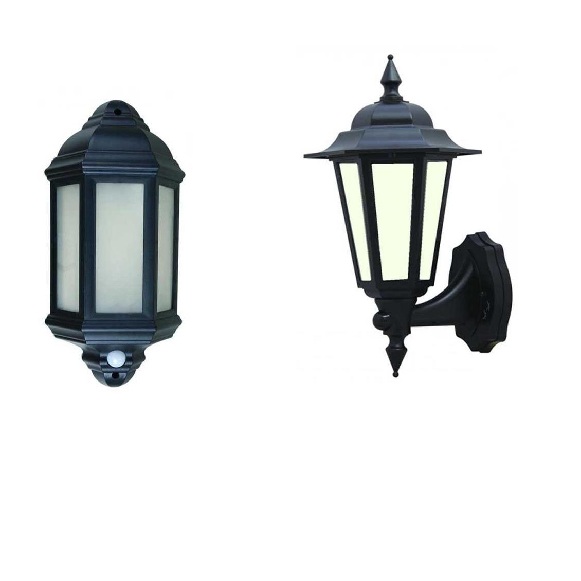 Outdoor Pir Lanterns Regarding Well Liked Led Outdoor Garden Wall Half Lantern Pir Black Ip44 External 7 Watt (View 14 of 20)