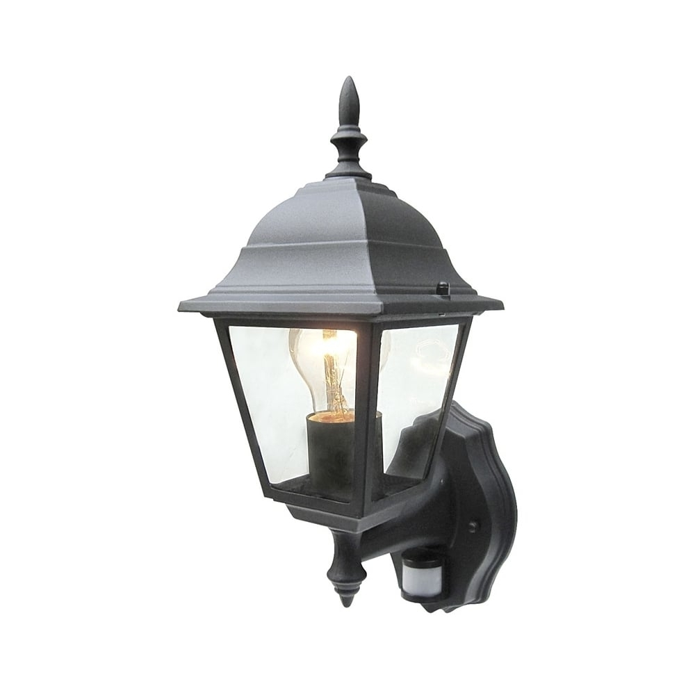 Outdoor Pir Lanterns Throughout Fashionable Power Master Black/white Outdoor Traditional Pir Sensor Wall Lantern (View 15 of 20)