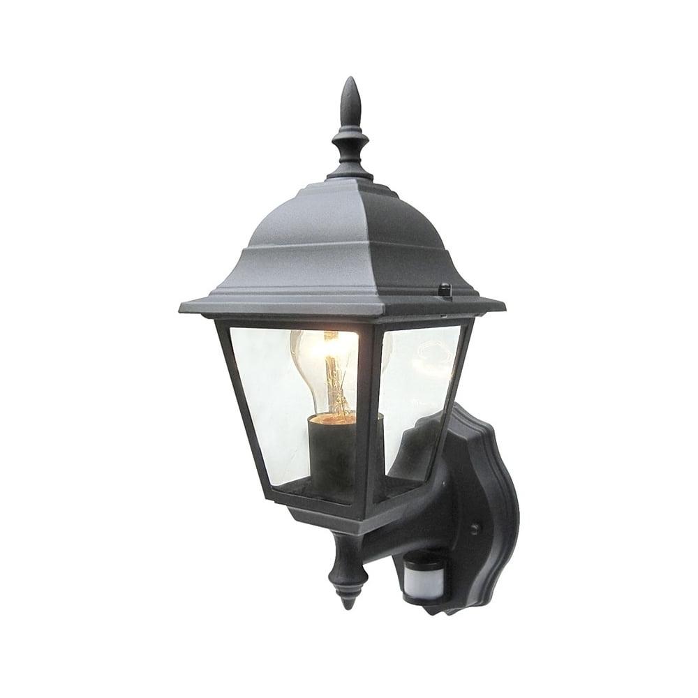 Outdoor Pir Lanterns Throughout Fashionable Power Master Black/white Outdoor Traditional Pir Sensor Wall Lantern (View 4 of 20)
