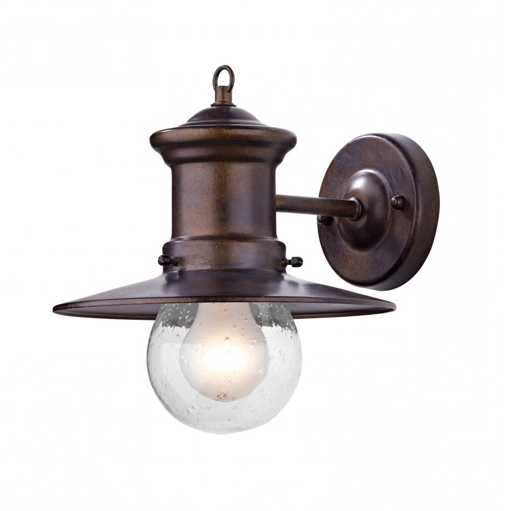 Outdoor Porch Lanterns Pertaining To Well Known Rustic Outdoor Wall Light In Bronze Finish With Glass Shade (View 8 of 20)