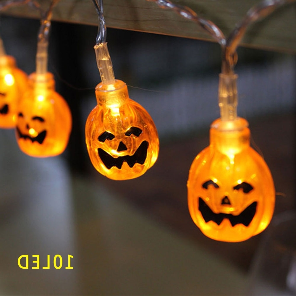 Outdoor Pumpkin Lanterns With Well Known 3d Pumpkin Lantern Stip Led String Light Halloween Decor 10led (View 4 of 20)