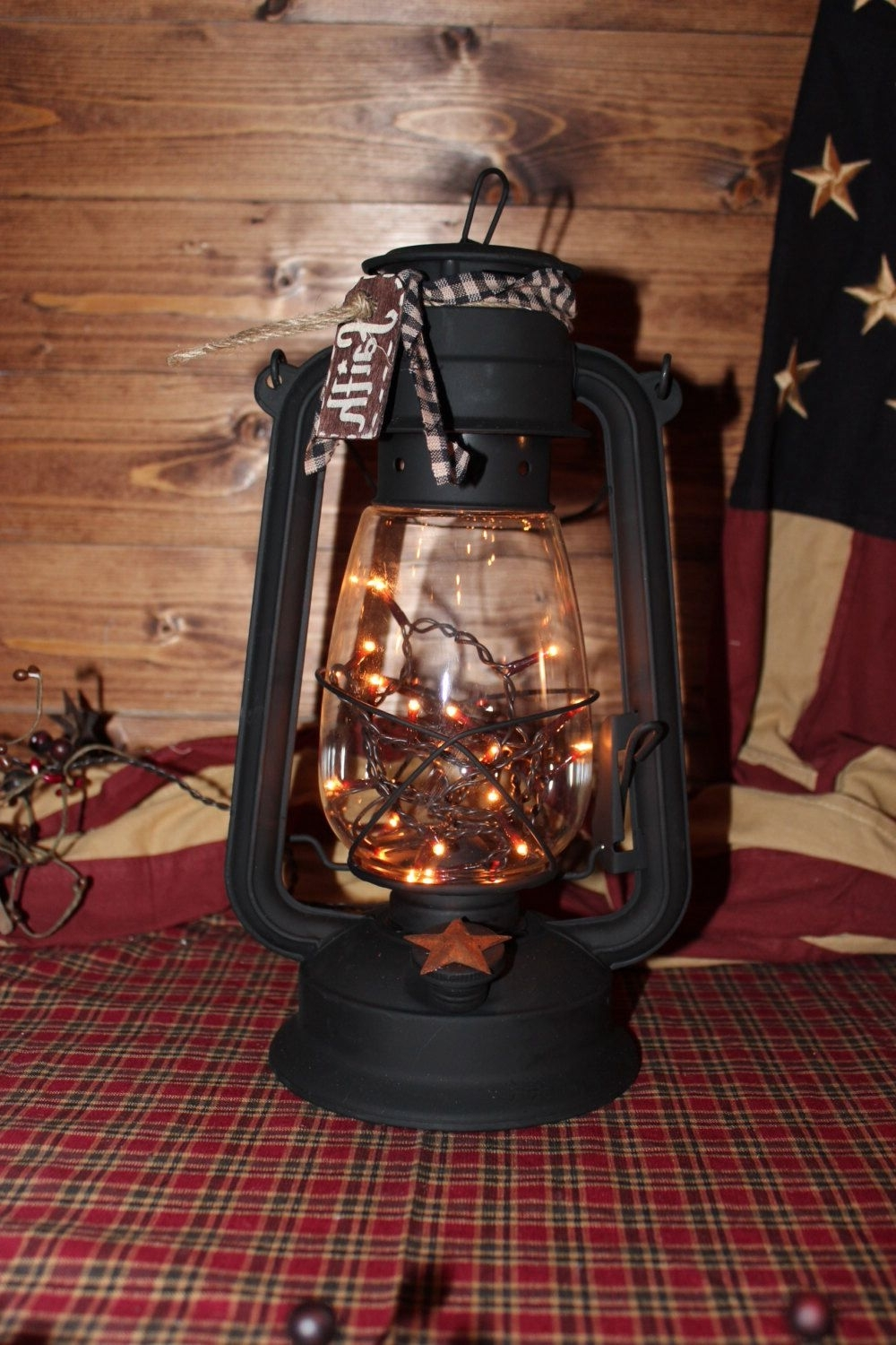 Outdoor Railroad Lanterns Within Most Recent Xl Lantern W/flicker Bulb. Primitive.country Decor (View 14 of 20)