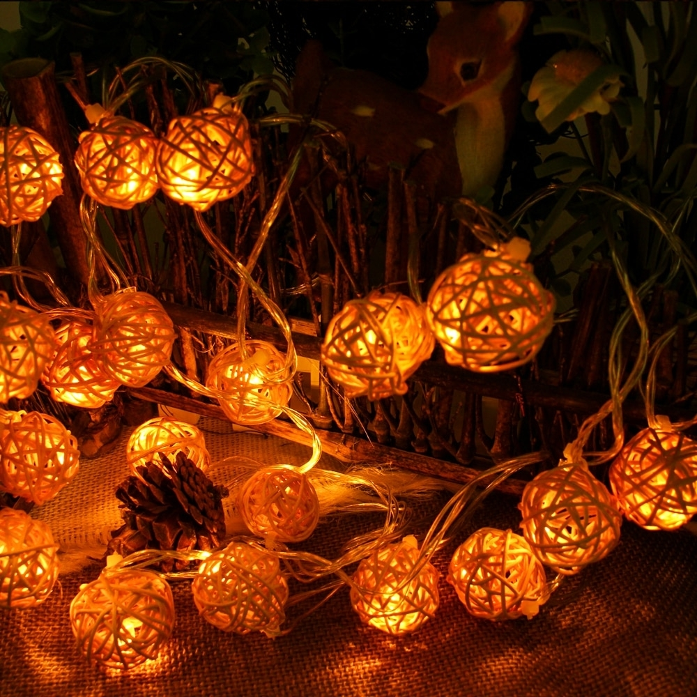 Outdoor Rattan Lanterns Regarding Widely Used Connectable 5m 20leds Christmas Lights Indoor Outdoor Rattan Ball (View 18 of 20)