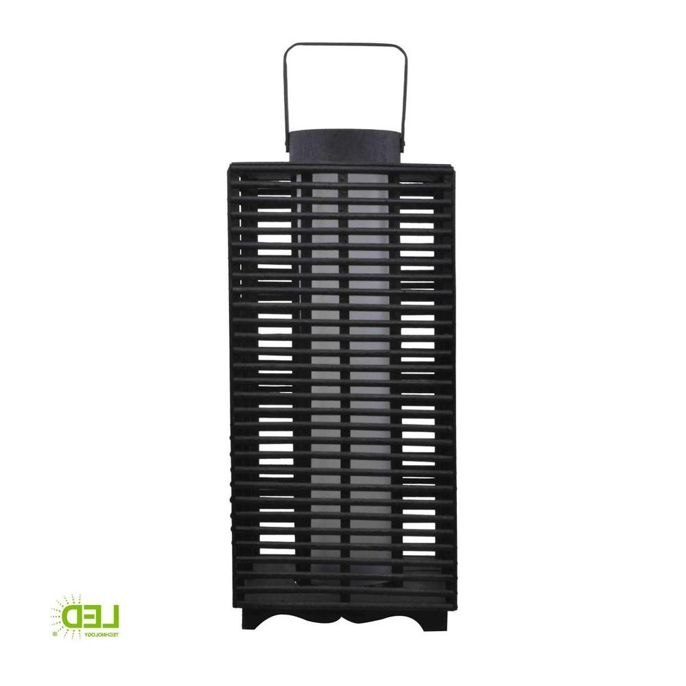 Outdoor Rattan Lanterns With Regard To Most Up To Date Hampton Bay 18 In. Solar And Battery Powered Black Outdoor (Gallery 5 of 20)