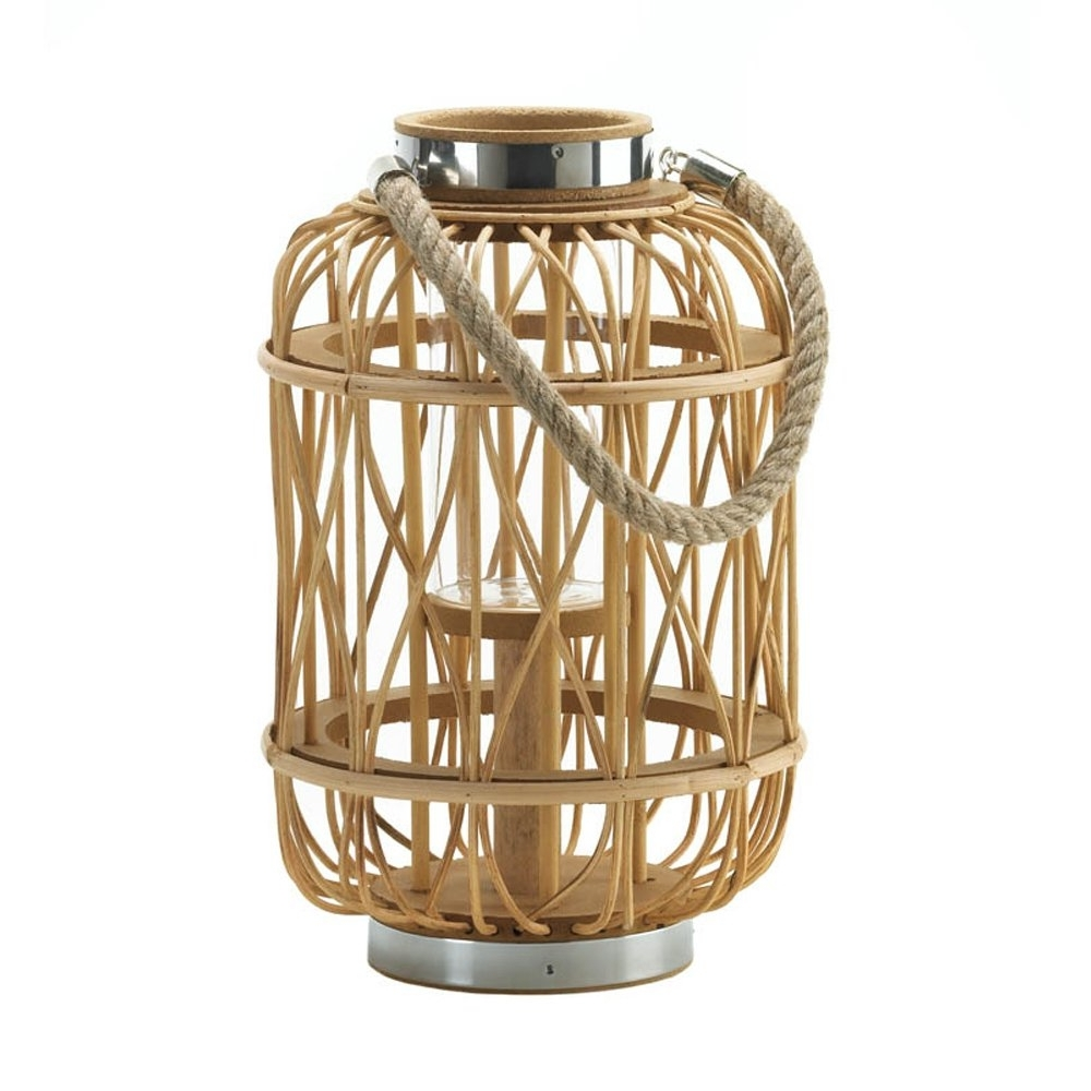 Outdoor Rattan Lanterns Within Most Up To Date Patio Candle Lanterns, Outdoor Decor Woven Rattan Rustic Wooden (View 7 of 20)