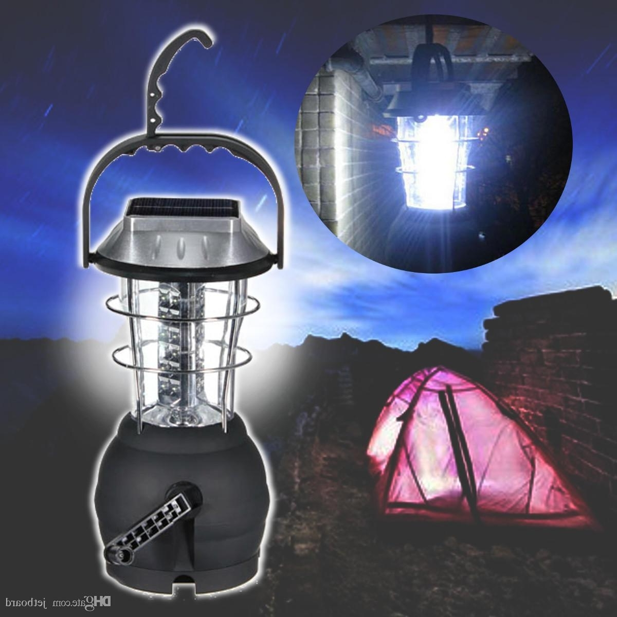 Outdoor Rechargeable Lanterns Within Most Current Outdoor 36 Leds Solar Light Lantern Rechargeable Tent Lamp Hand (View 13 of 20)