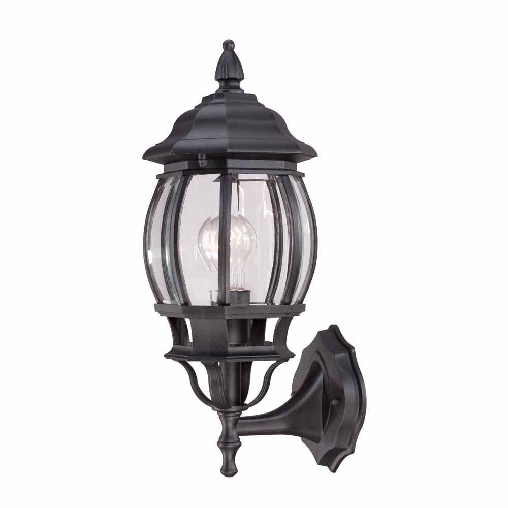 Outdoor Round Lanterns Pertaining To Popular Hampton Bay 1 Light Black Outdoor Wall Lantern Hb7027 05 – The Home (View 9 of 20)