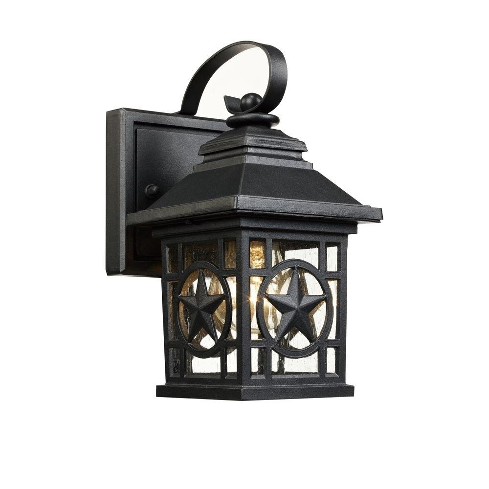 Outdoor Rustic Lanterns Pertaining To Trendy Laredo Texas Star Outdoor Black Wall Lantern Ou080419 5S – The Home (Gallery 17 of 20)