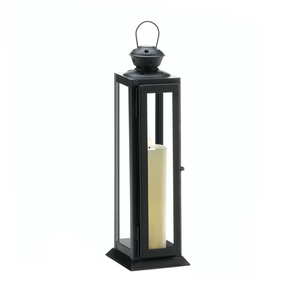 Outdoor Rustic Lanterns Within Most Popular Black Metal Candle Lantern, Rustic Decorative Lanterns For Candles (View 3 of 20)