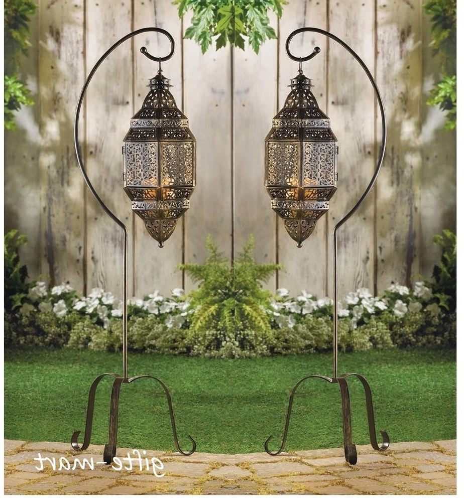 Outdoor Standing Lanterns Pertaining To Recent 2 Large Hanging Moroccan Pendant Lantern Candle Holder Lamp Floor (Gallery 5 of 20)
