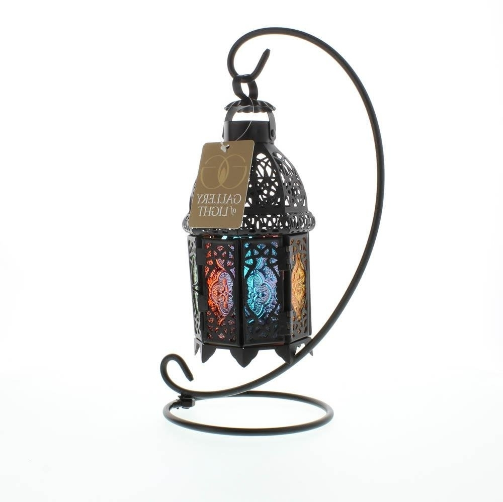 Outdoor Standing Lanterns Within Well Known Lantern Stand, Moroccan Glass Iron Outdoor Candle Rainbow Lanterns (View 9 of 20)